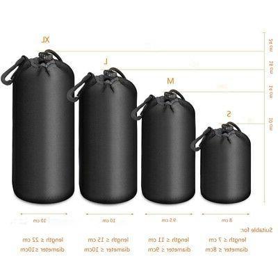 Waterproof Drapstring Bags Camera Lens Padded Protector Case Black
