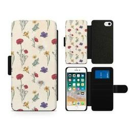 Luxury Flowers and Daisy Flip Faux Wallet Phone Case for 3 C