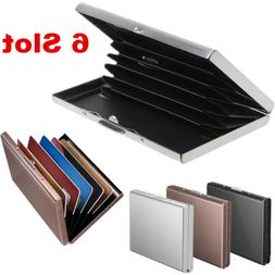 Men Stainless Steel 6 Slot Wallet Business ID Credit Card Ho