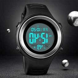 Men Waterproof Sport Army Alarm Date LED Digital Stopwatch L
