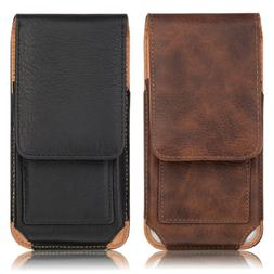 NEW BLACK HEAVY DUTY LEATHER VERTICAL CELL PHONE POUCH CASE