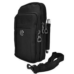 Premium Nylon Shoulder Bag Wallet Belt Clip Holster Case for