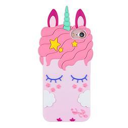 Joyleop Pink Unicorn Case for iPhone 5 SE 5S 5C,Cartoon Sili