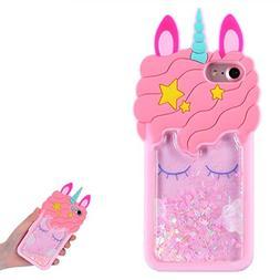 TopSZ Quicksand Unicorn Bling Case for iPhone SE 5S 5C 5,Cut