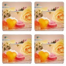 Luxlady Natural Rubber Square Coasters IMAGE ID: 25748995 Sw