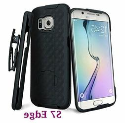 For Samsung Galaxy S7 Edge - Black Holster Swivel Belt Clip