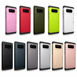 For Samsung Galaxy Slide Card Pocket Shockproof Hybrid Case