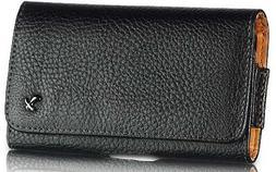 Black Stitched Landscape Leather Case Built In Belt Clip Wit