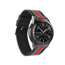 Huanlong Samsung Gear S3 Watch Band, 22mm Nylon Style Leathe