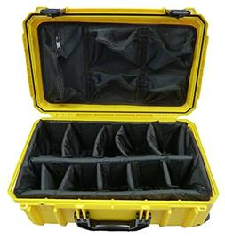 "Seahorse ""Light"" series Yellow SE830 case w/ dividers & Lid"