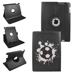Soccer Ball On iPad 2 3 4 Generation Leather Rotating Case 3