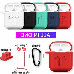 Strap Holder & Silicone Case Cover For Apple AirPod Air Pod