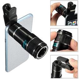 Telephoto Mobile Phone Camera Lens, Portable Universal 8X-12