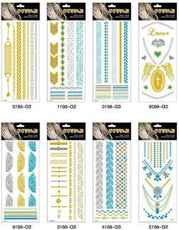 Adecco LLC Temporary Tattoos 8 Sheets Flash Metallic Gold Eg