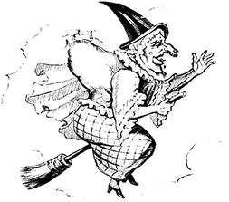 Wall Art Print entitled Vintage Witch On A Broomstick by All