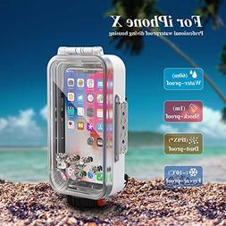 MEIKON Waterproof Case for iPhone X/XS Underwater Housing Pr